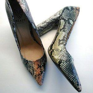 Beast Shoes - Black & Yellow Snake Print Brianna Pump